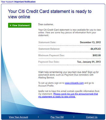 Citibank Account Online >> CitiBank credit card statement leads to Blackhole